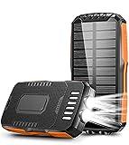 Cocoda Cargador Solar, 25000mAh Power Bank con 2 Linternas Ultra Brillantes, Batería Externa Portátil con 2 Salidas & 2 Entradas (Micro USB y Tipo C), Solar Powerbank Impermeable para Exteriores