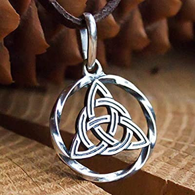 Celtic Trinity Knot Necklace 925 Sterling Silver Triquetra Pendant Infinity Symbol Endless Love Charm Good Luck Amulet Irish Witchcraft Jewelry for Women/Handmade