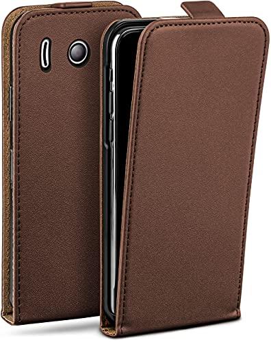 moex Flip Hülle für Huawei Ascend Y300 Hülle klappbar, 360 Grad R&um Komplett-Schutz, Klapphülle aus Vegan Leder, Handytasche mit vertikaler Klappe, magnetisch - Dunkelbraun