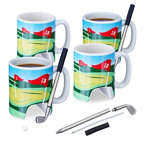 Relaxdays 4X Golftasse mit Schläger, Putter mit Kugelschreiber, je 2 Golfbälle, lustiges Golfgeschenk, Golf Kaffeetasse, bunt