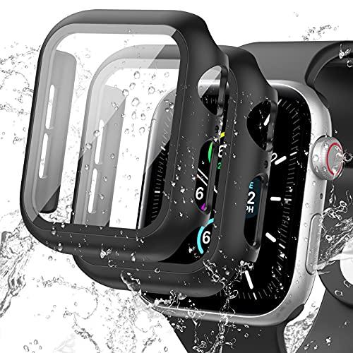 Delidigi Pack de 2 fundas impermeables para Apple Watch de 44 mm Series 6 5 4 SE con protector de pantalla de cristal blindado, PC duro Apple Watch 44 mm (negro-40 mm)