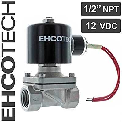 """EHCOTECH 1/2"""" 12V DC Solenoid Valve, Stainless Steel, Water Air Gas FKM/VITON NC S21V from EHCOTECH"""