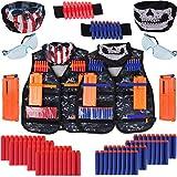 Kit de chaleco táctico para niños regalos juguetes, Genround Juego de chaleco táctico Nerf de 90pcs para pistola de juguete 2 set kits de chaleco ajustable regalo al aire libre para niños de 6-12 años