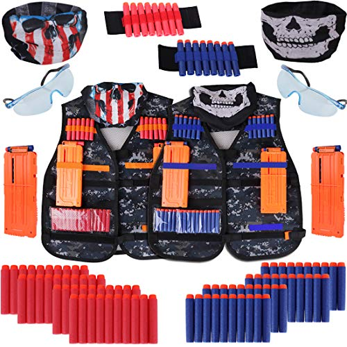 edola Kids Tactical Vest Kit 2 Pack for Nerf Guns N-Strike Elite Series with Tactical Vest, Binoculars, Refill Darts, Reload Clips, Tactical Mask, Wrist Band and Protective Glasses for Boys