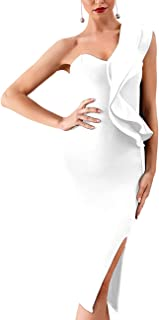 Whoinshop Women's Sleeveless Side Weave Cut Outs Midi Cocktail Bandage Dress
