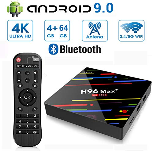 Android 9.0 TV Box, H96 Max Plus 4 GB RAM 64 GB ROM RK3328 Quad-Core 64Bit-Cortex-A53 Processor, 2,4 GHz / 5,0 GHz WiFi 100M LAN 4K 3D H.265 USB3.0 Bluetooth 4.0