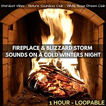 Fireplace & Blizzard Storm Sounds on a Cold Winters Night: One Hour (Loopable)