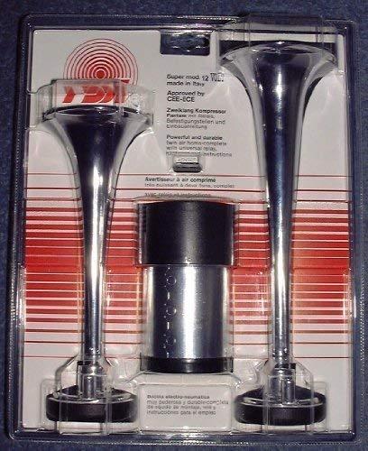 FISA Fanfare Zweiklang Kompressor Chrom Metall 12 Volt lt. STVZO zugelassen !!!