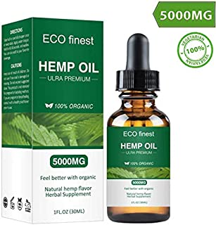 Hemp Oil Extract 5000mg for Pain, Anxiety & Stress Relief, Helps with Sleep, Skin & Hair - All Natural Drops 100% Organic Non-GMO Rich in Omega 3,6,9