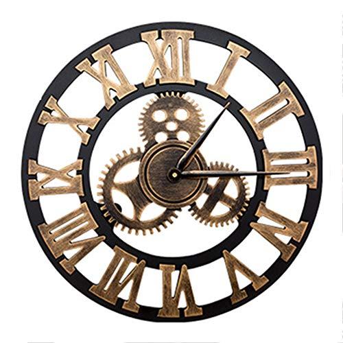 Reloj De Pared De Madera Maciza Mudo Vintage 3D, Relojes De Pared Con Números Romanos Hechos A Mano, Relojes Retro De Engranajes Industriales, Decoración Para Sala De Estar, Cocina (Rome Gold,40*40cm)