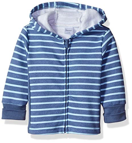 Hanes unisex baby Ultimate Zippin Fleece Hoodie Hooded Sweatshirt, Blue Stripe Print, 18-24 Months US