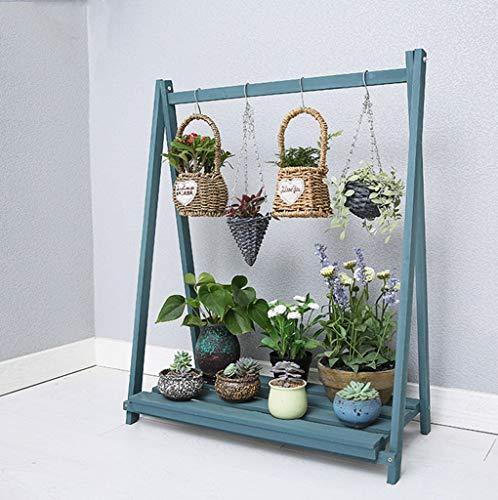 WYJW Bloemenrekken/rekken/plank Ophanghouten plank Ophangplant voor bloempotten Planksteun Plankdrager met oprolplank voor binnen/buiten balkon in blauw (afmeting: 78x36x96cm)