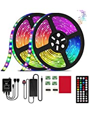 LED Strip Light,32.8ft/10m RGB LED Light Strip with 44 Keys IR Remote, 12V Power Supply 5050 RGB 600 LED Flexible Color Changing Lights Strips Kit with Music Sync for Home, DIY Decoration
