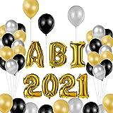 ABI 2021 Folienballon Girlande,Abitur Deko Luftballons,Ballons Gold Buchstabe, Balons Abschluss, Deko set für die Abi-Feier/Schul Abschluss/Dekoration Aula (gold)