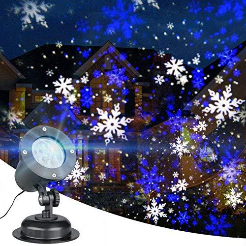 Flocon de neige Projecteur Lumière LED Blanc/Bleu Rotatif Snowfall Paysage Projection Lumières de Noël Décoratives avec Minuterie pour Anniversaire Mariage Thème Fête Jardin Décor