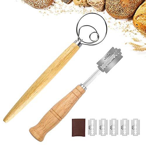 SUNSK Cuchillo de Panadero Batidor de Masa Danesa Cuchillo de Pan Batidor de Masa de Pan Cuchillo para Masa con 5 Cuchillas Panadero Corte de Pan para Hornear Pan Batidor de Huevo