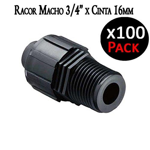 Suinga Raccord mâle 3/4 x Ruban d'irrigation par goutte 16 mm manchon pour raccorder Ruban d'arrosage avec filetage 3/4. Pack 100 unités.