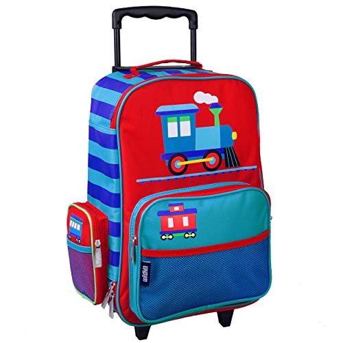 Wildkin Kids Rolling Suitcase for Boys and Girls,Kids Luggage is Carry-On Size and Perfect for School and Overnight Travel,Measures 16 x 11.5 x 6 Inches,BPA-free,Olive Kids (Trains, Planes and Trucks)