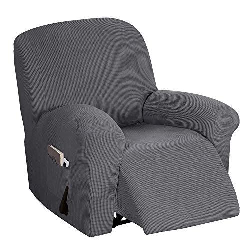 BellaHills Verstellbarer Sofabezug 1-teilig, rutschfest, weich, hochelastisch, Lycra-Jacquard, Schonbezug, formschlüssig, Möbelbezug Verstellbarer Sofabezug, maschinenwaschbar - stahlgrau