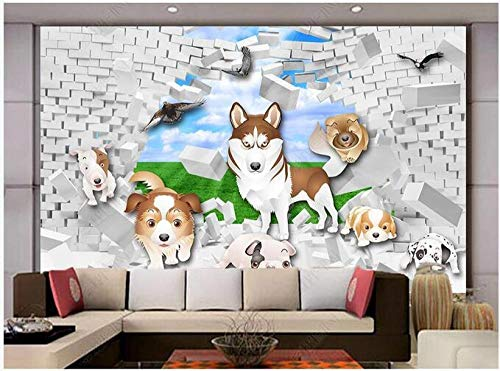 Papel Tapiz Fotográfico 3D Personalizado Lindo Perro Mascota Rompiendo La Pared Pared De Fondo Estéreo 3D-200Cmx140Cm