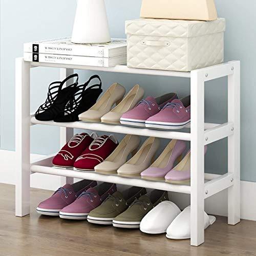 XWZH Zapatero a prueba de polvo para zapatos de 3 niveles de madera maciza, para el hogar, pequeño, zapatero para polvo, zapatero blanco (tamaño: 65 cm)