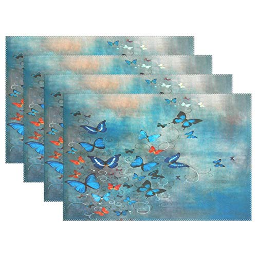 Promini Hitzebeständige Tischsets, Blaue Schmetterlinge, waschbar, Polyester, Rutschfest, waschbar, Tischsets für Küche und Esszimmer, 4 Stück