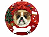 E&S Pets Bulldog Personalized Christmas Ornament