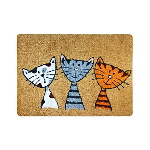 deco-mat Fußmatte Katze (50 x 70 cm, Beige) • rutschfeste und waschbare Fußmatte für außen/innen • saugstarke Schmutzfangmatte vor In-/Outdoor mit lustigem Katzenmotiv