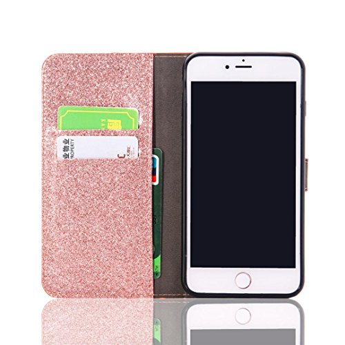 For iPhone 7 Plus Case,HP95(TM) Luxury Bling Glitter Wallet Flip Leather Case Skin Cover For iPhone 7 Plus 5.5 inch (Rose Gold)