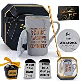 Thank You Gifts for Women, Birthday Inspirational Gifts for Women Men Friends Sometimes You Forget You're Awesome So This Is Your Reminder Mug Set for Mom Dad Boss Marble Ceramic Coffee Mug 14oz Grey