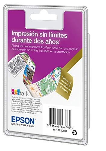 Epson EcoTank Tarjeta Unlimited | Tinta Ilimitada Durante 2 Años | Compatible con: ET-2600/ET-2650/ET-2700/ET-2710/ET-2711/ET-2720/ET-2726/ET-2750/ET-2756/ET-3700/ET-3750/ET-4500/ET-4700/ET-4750