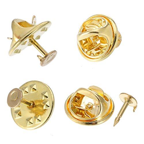 Mudder 100 Paia Farfalline Farfalla Cravatta Puntine di Cravatta Posteriore Sostituzione con Spilli Vuoti per Creazione di Craft (Oro)