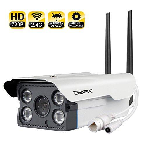 BENEVE Cámara de Seguridad para Exteriores Smart WiFi,Cámara IP HD 720P Visión Nocturna con Detección de Movimiento a Prueba de Agua Monitoreo en Vivo