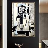 Tpqoaa Cuadro en Lienzo- de una Sola Pieza - Impresión en Lienzo - Juan Gris Viejo Maestro Famoso Artista Español Bodegón con Guitarra 60x90cm Adecuado para familias, escuelas, hoteles.
