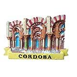 Imán para nevera 3D de Córdoba España para viaje, recuerdo de viaje, decoración para el hogar y la cocina, etiqueta engomada magnética, colección de imanes para refrigerador de Córdoba España