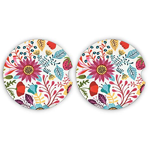 LogHog Small 2.56' Absorbent Car Coasters 2 Pack, Auto Coasters for Cup Holders, Ceramic Car Accessories Coasters Absorb Spills to Keep Cupholders Clean.(Sunflower)