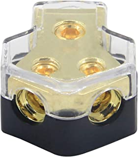 RKURCK 2 Way Power Distribution Block, 0/2/4 AWG Gauge in, 4/8/10 Gauge Out, Car Audio Stereo Amp Distribution Connecting Block for Audio Splitter (2Way)