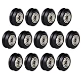 V Groove Bearings, Plastic Linear POM Pulley Wheel Roller Compatible for Creality Ender 3 Series, CR-10 Series, Anet A8, Mega S 3D Printer (Black, 13pcs of Pack)