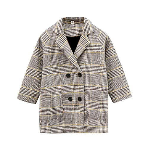 Fantastic Deal! Girls Wool Coat, Little Girl Houndstooth Jacket Autumn Winter Fashion Long Sleeve Ca...