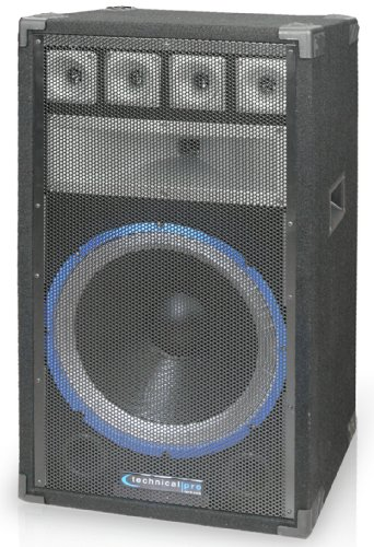Technical Pro VRTX15, 15 Inch Six way Carpeted Cabinet Speaker with Steel Grill, Black