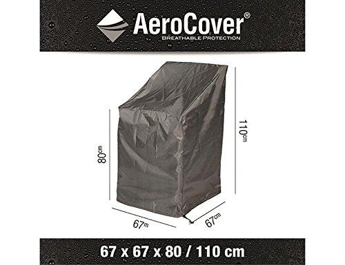 Ademende, vorstbestendige en waterdichte AeroCover beschermhoes in antraciet voor stapelstoel, in praktische draagtas, 67 x 67 x H110/80 cm, 7962