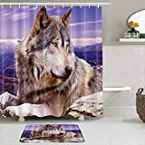 QYUESHANG Set di Tende per Doccia con tappeti Antiscivolo, Altopiano Animale altopiano Grigio e Bianco Wolf Lying on The Stone, con 12 Ganci