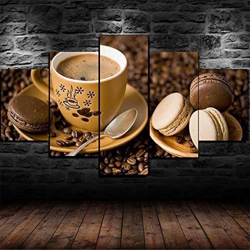 CHANGJIU-Cuadros Decoracion Dormitorios- Decoracion Habitacionr Pared- 5 Piezas- Póster Pastel De Macarrones De Taza De Café -Muchos Tamaños Y Varios Temas Gráficos-Marco