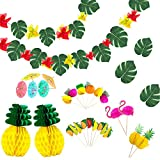 Ucradle 99PCS Hawaii Tropical Party Dekoration Kit, Tropische Sommerparty, mit Hawaii Blumen, Palmenblätter, Ananas Wabenbälle, Seidenpapier Fan für DIY Garten Beach Party Deko.