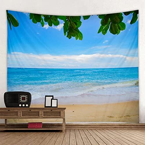 GermYan Tapiz de Pared con Estampado de Playa de Hoja Verde, Tapiz Hippie para Colgar en la Pared, Tapiz Hohemian, Tapiz de Mandala, decoración artística de Pared 150 * 200Cm