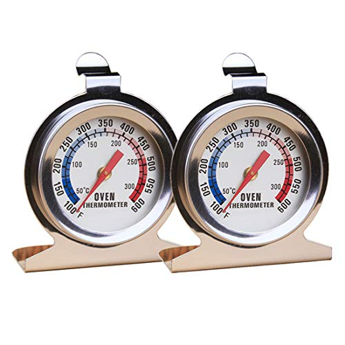 VOKARO 2-Pack Stainless Steel Oven Thermometer (50-300°C/100-600°F) for Grill Baking