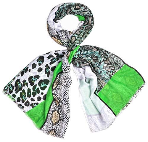 Preisvergleich Produktbild Schal Damen leicht Frühling Leo Leoparden Schlangen Muster Animal Beige Schwarz Neon Grün