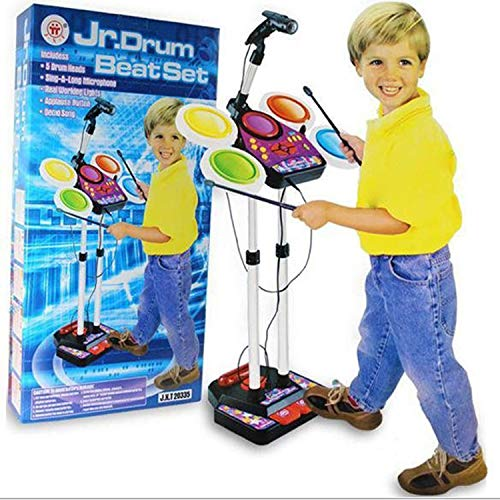 Kids Junior Electronic Drum Kit Beat Set Musical Toy with...