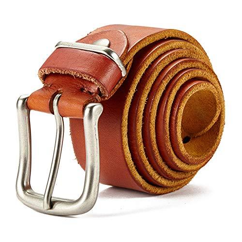 RSDPJ Herren-Ledergürtel, handgemachtes 100% Leder, Lässige Vintage-Ledergürtel, Breite ca. 2~4Cm (Brown),110cm