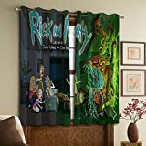 Cortinas opacas Rick and Morty, cortinas con ojales para dormitorio